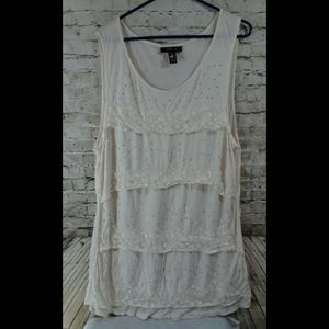 Cream baby doll lace top w details Large top